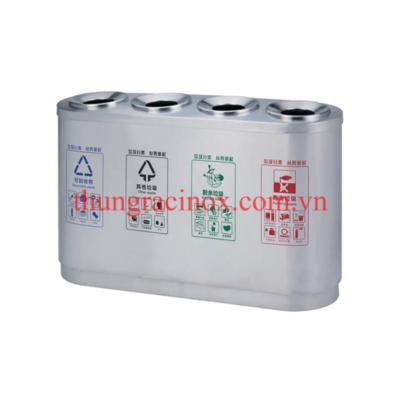Thùng rác inox 4 ngăn phân loại rác A106