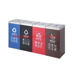 Thùng rác inox 4 ngăn phân loại rác A112
