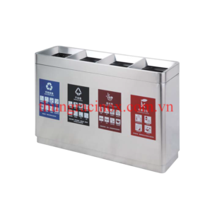 Thùng rác inox 4 ngăn phân loại rácA99