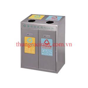 thùng rác inox 2 ngăn phân loại rác A37D