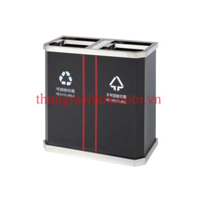 thùng rác inox 2 ngăn phân loại rác A45 đen