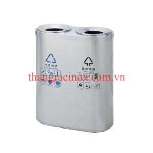 thùng rác inox 2 ngăn phân loại rác A46-A