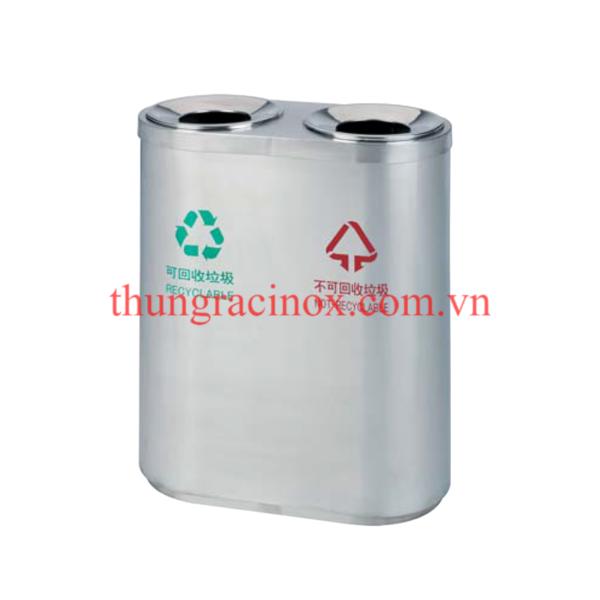 thùng rác inox 2 ngăn phân loại rác A46-A1