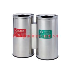 thùng rác inox 2 ngăn phân loại rác A65-H