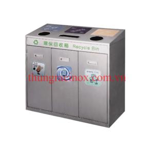 thùng rác inox 3 ngăn phân loại rác A37D