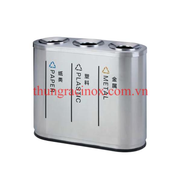 thùng rác inox 3 ngăn phân loại rác A96-