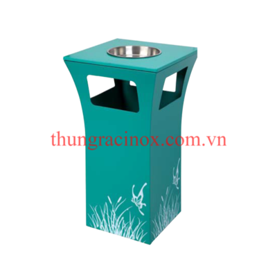 thùng rác inox có gạt tàn A49