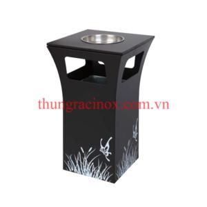 thùng rác inox A49 màu đen