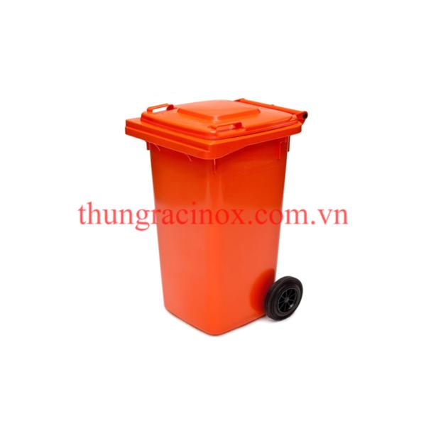 thùng rác nhựa 120 lít màu cam