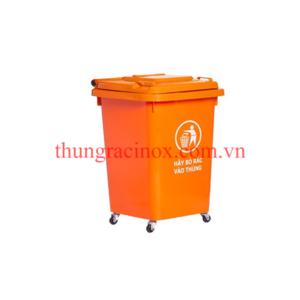 thùng rác nhựa 60 lít bốn bánh xe màu cam