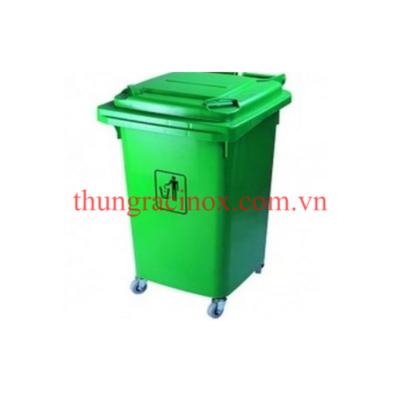 thùng rác nhựa 60 lít màu xanh nước xanh lá cây