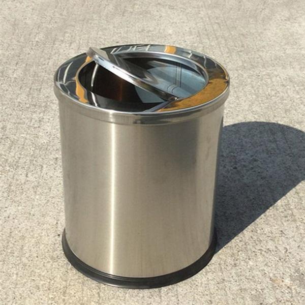 thùng rac inox tròn năp lật